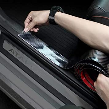 Sxlofty Door Entry Guards 98.4Inch Width 1.96Inch Carbon Black Silver Door Sill Entry Guards,Paint Protection Guard,Before Rear Bumper Guard Scratch Scratch Protection Strip,Arbitrary Cutting