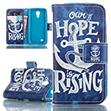 Galaxy S4 Mini Case, Ultra Slim Kickstand Stand Wallet Purse Credit Card ID Holders Magnetic Snap Closure Bumper PU Leather Cover for Samsung Galaxy S4 MINI-HOPE anchor blue