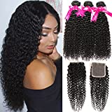 Hermosa Curly Brazilian Human Hair Bundles with Closure Grade 10A Virgin Unprocessed Brazilian Curly Hair 3 Bundles with Closure Free Part(18 20 22 with 16'' closure)
