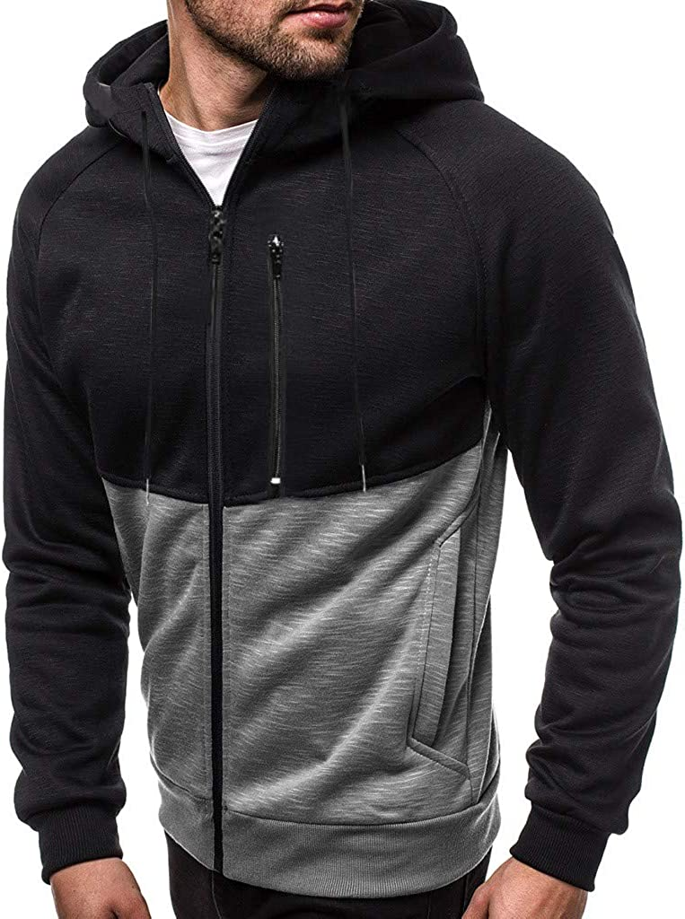 Mens Casual Sweatshirts Hoodies Zippered Front Long Sleeves Patchwork Outwear Blouse Slim Fit Pocket Sports Hooded Coat