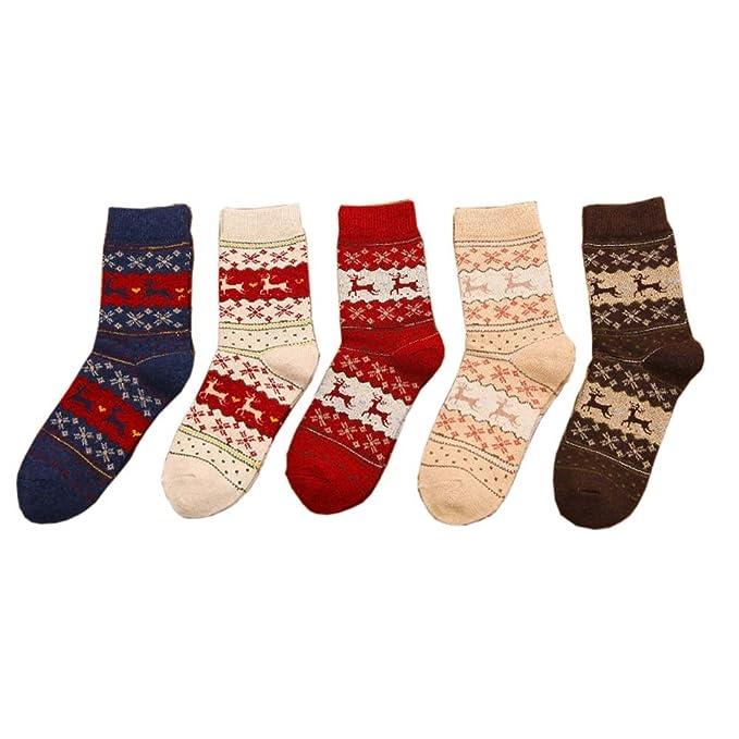 5 pares de calcetines de invierno de moda calcetines de navidad regalo para mujeres / niñas