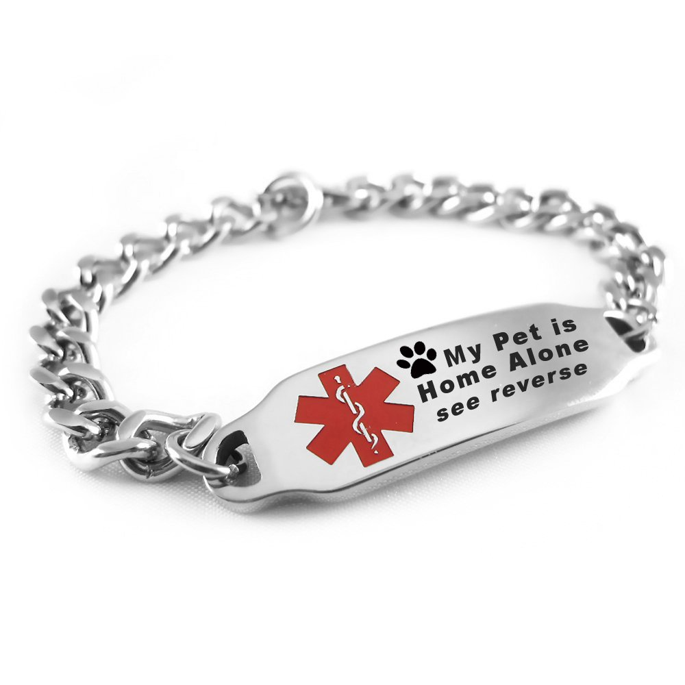 My Identity Doctor - Customizable My Pet is Home Alone Medical Bracelet, Stainless Steel, Red Symbol