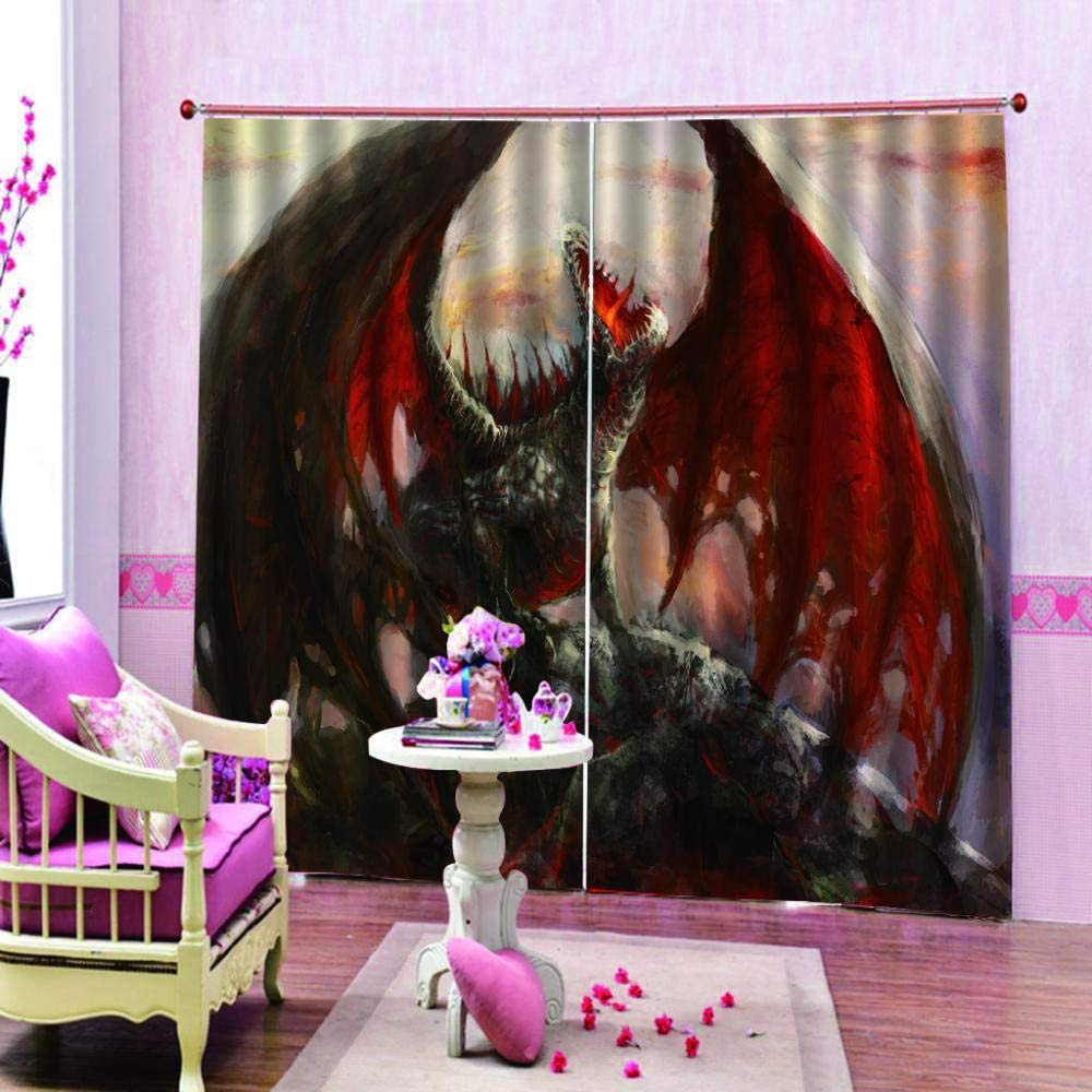 SKYZAHX Polyester Blackout 3D Window Curtains For Living Room Office Bedroom Dragon 27.56 x 72.05 inch 2 panels in total Suitable for bedroom living room dining room nursery etc