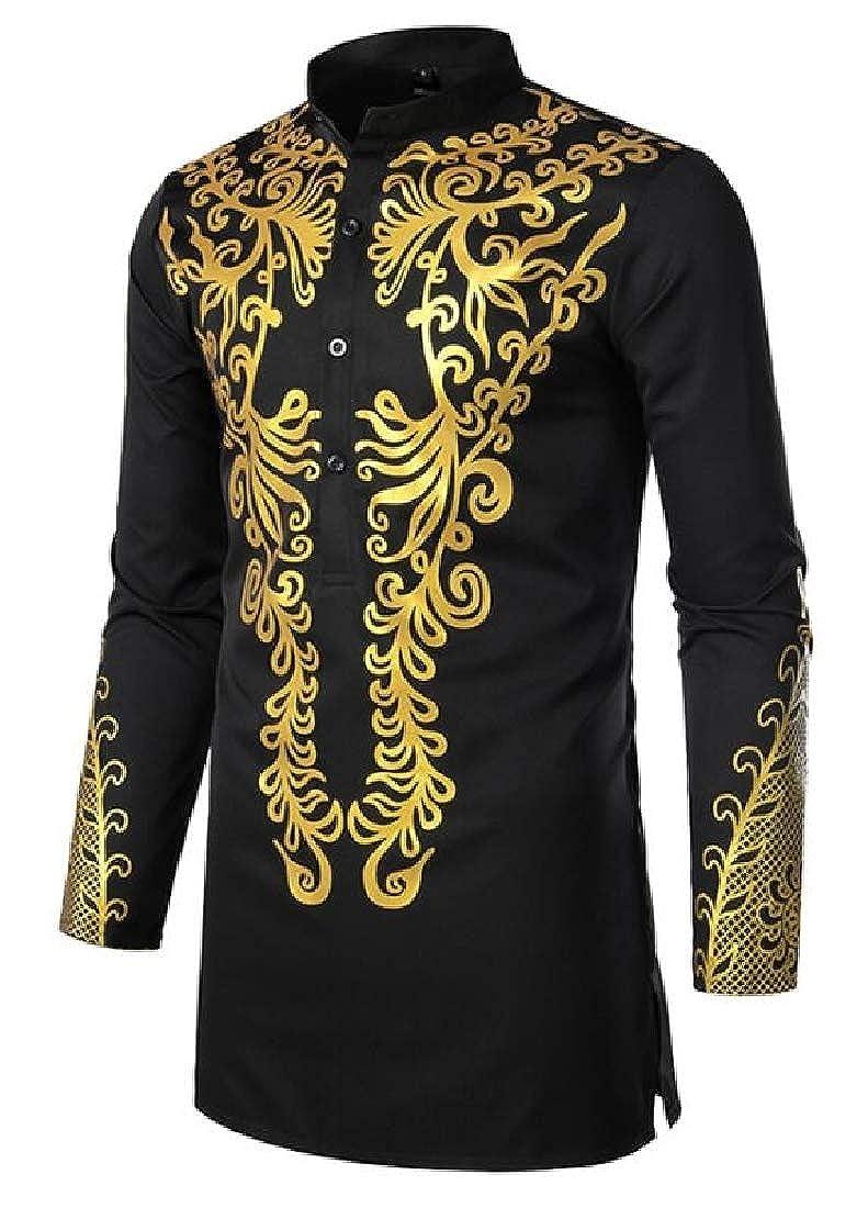 Cromoncent Mens Long Sleeve Dashiki African Print Stand Collar Shirts