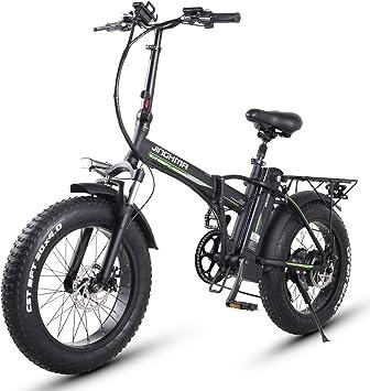 XXCY Bicicleta Eléctrica, Bicicleta Eléctrica Urbana Plegable, Velocidad Máxima 40 km/h, Peso Ligero de 20 Pulgadas, Batería de Litio de Carga Extraíble de 500 W / 48 V / 16ah (500W 16AH
