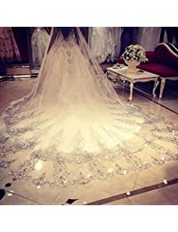 White Ivory Long Cathedral Crystal Wedding Veils With Free Comb