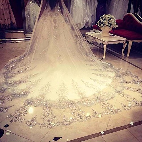 Ivory Cathedral Bridal Wedding Veil (Leekida Ivory Long Cathedral Crystal Wedding Veils with Free Comb)