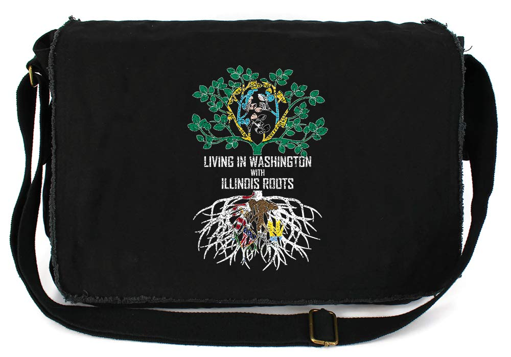 Tenacitee Living In Washington with Illinois Roots Grey Brushed Canvas Messenger Bag