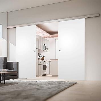 2 flügelige Puerta corrediza Puerta de madera puerta corrediza habitaciones 1760 X 2035 mm Puerta Interior biombos Juego completo de almacenamiento con riel & 2 x Puerta de madera (Color Blanco), Griffmuschel: Amazon.es: Hogar