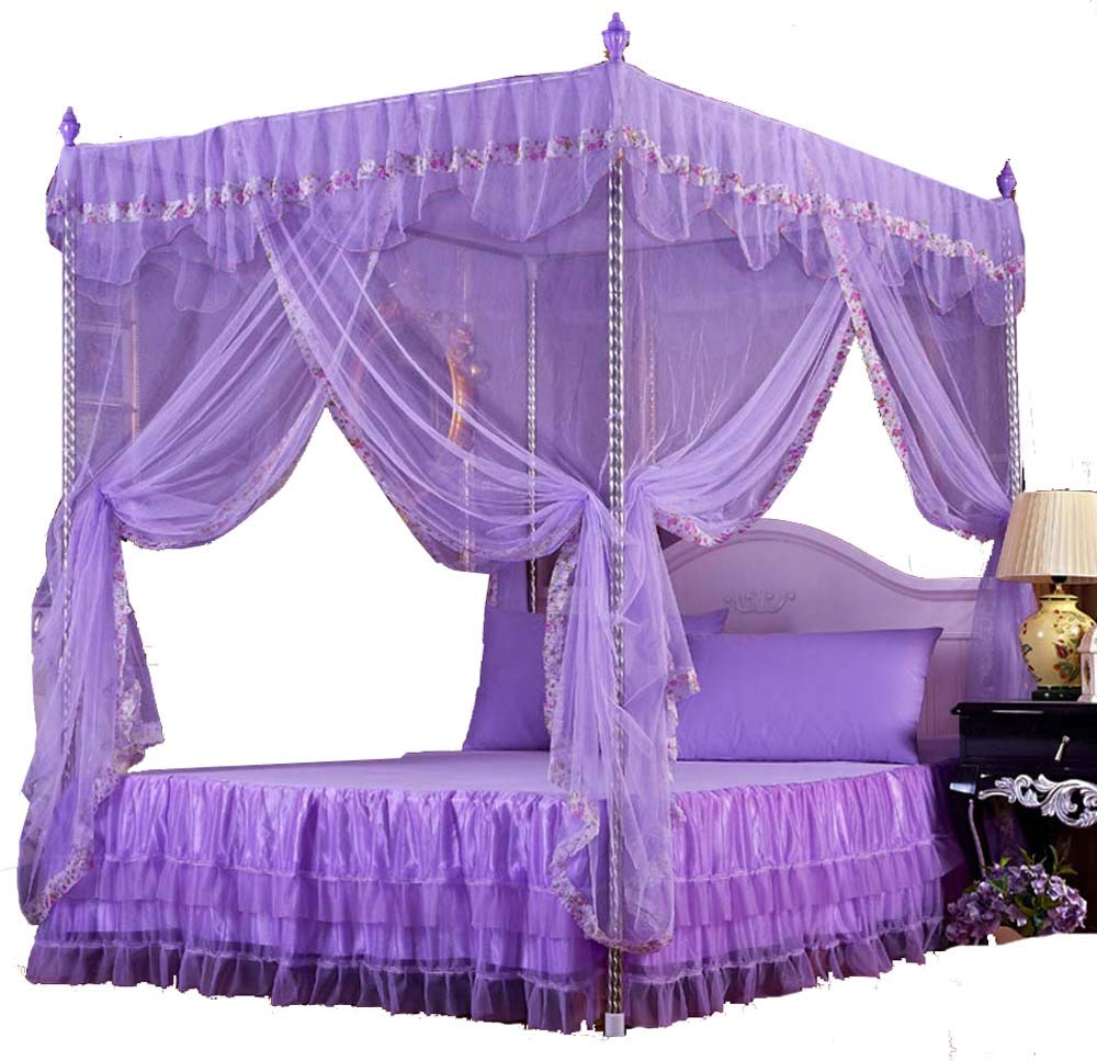 Nattey Flowers 4 Corners Princess Bed Canopy Mosquito Net Canopies (Queen, Purple)