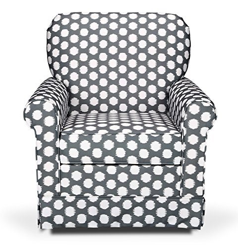 Storkcraft Polka Dot Upholstered Swivel Glider, Gray/White, Cleanable Upholstered Comfort Rocking Nursery Swivel Chair