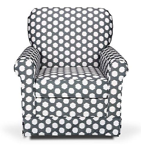 Storkcraft Polka Dot Upholstered Swivel Glider, Gray/White, Cleanable Upholstered Comfort Rocking Nursery Swivel - Rocking Swivel Chairs