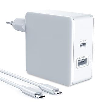 Cargador USB C Ulinek PD Cargador Rápido Cargador Móvil Tipo C 45W + 12W Power Delivery 3.0 QC 3.0 Compatible con Apple Macbook Pro Samsung S8/S8 Plus ...