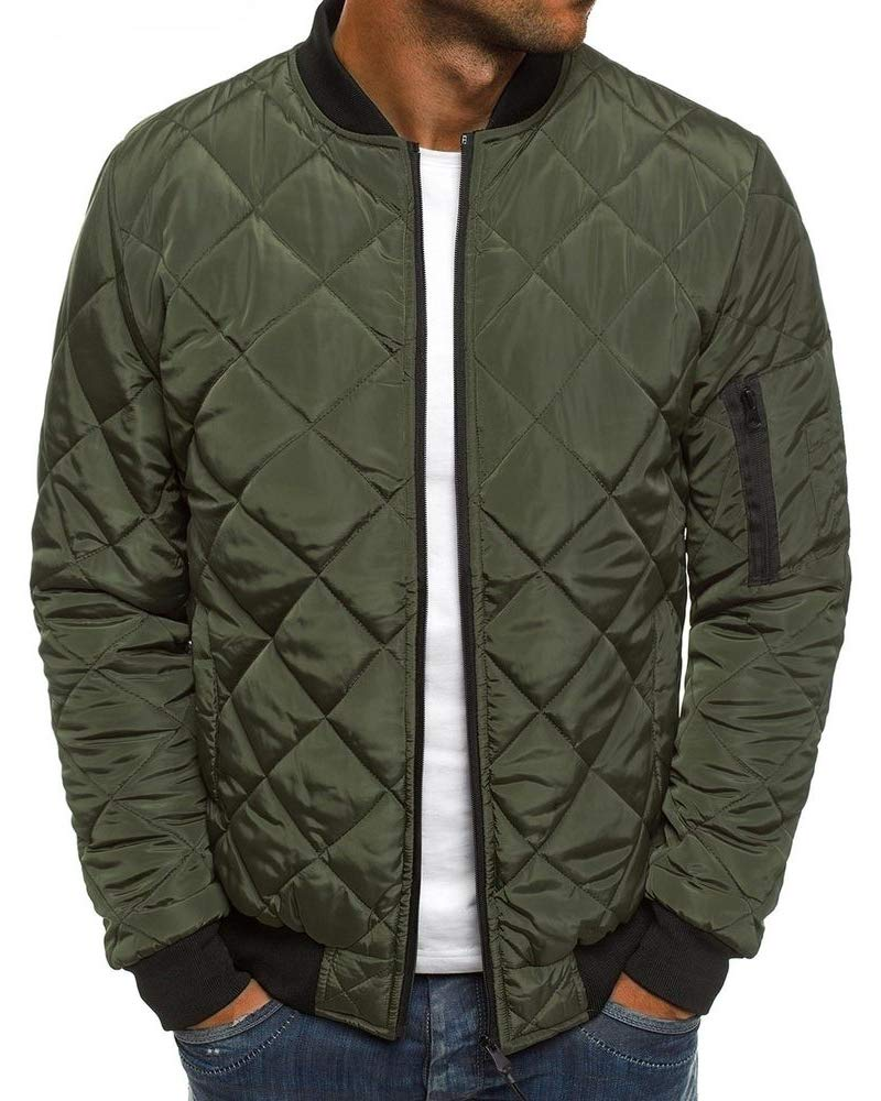 Beotyshow Mens Padded Bomber Jackets Sportswear Casual Varsity Diamond Quilted Lightweight Zip Up Puffer Coat with Pockets by Beotyshow