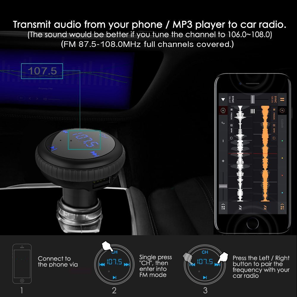 ELECCTV Wireless Bluetooth FM Transmitter Car Charger, Car Radio Adapter MP3 Player Music Hands-free Car Kit with LED Display for iPhone Samsung Smartphone,Support TF Card and USB Flash Disk Play