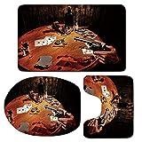3 Piece Bath Mat Rug Set,Western,Bathroom Non-Slip Floor Mat,Gambler-Holding-a-Revolver-Gun-Poker-Cards-Table-Drinks-Cigars-Dark-Saloon-Decorative,Pedestal Rug + Lid Toilet Cover + Bath Mat,Orange-Bro