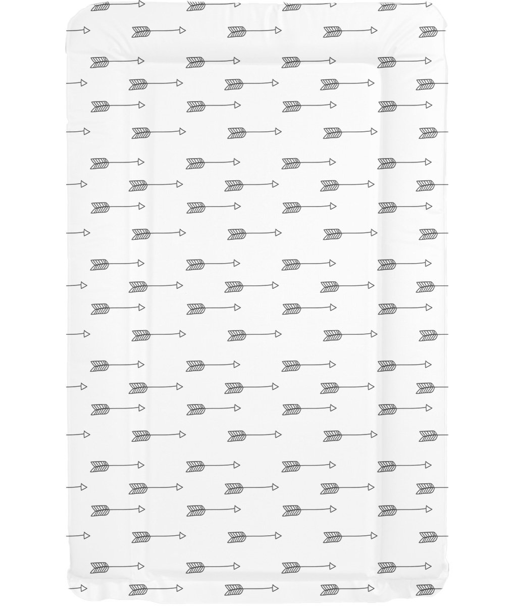 Deluxe Unisex Baby Waterproof Changing Mat with Raised Edges - Black & White Arrow Design babieswithlove
