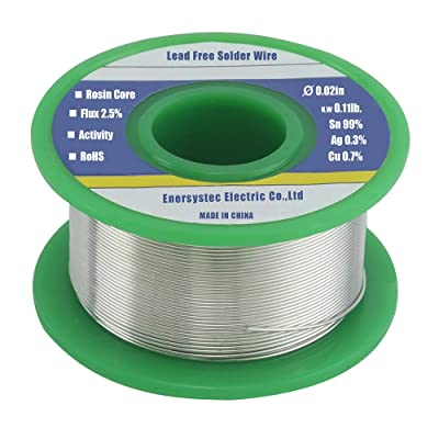 Lead Free Solder Wire Rosin Core Electrical Solder Wire Thin 0.6mm 50g Fine Solder with Flux 2.5 PB Free Sn99 Ag0.3 Cu0.7 Flow 0.11lb for High Precision Electronics Soldering DIY Repair