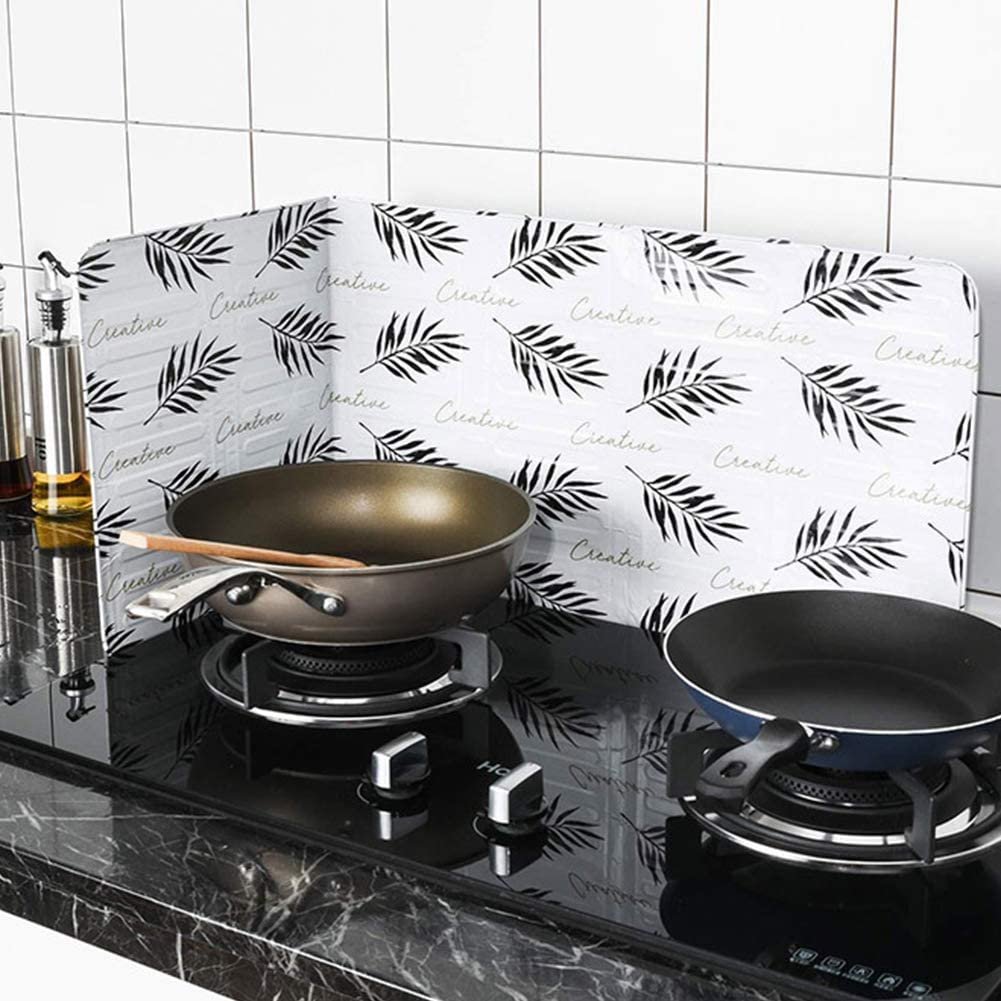 Leaf XIAMUSUMMER Kitchenware Oil Splash Shield Guard 2pcs Nordic Style Guards Screen Cover as Safety Guard Tool for Kitchen Gas Stove Heat Insulation