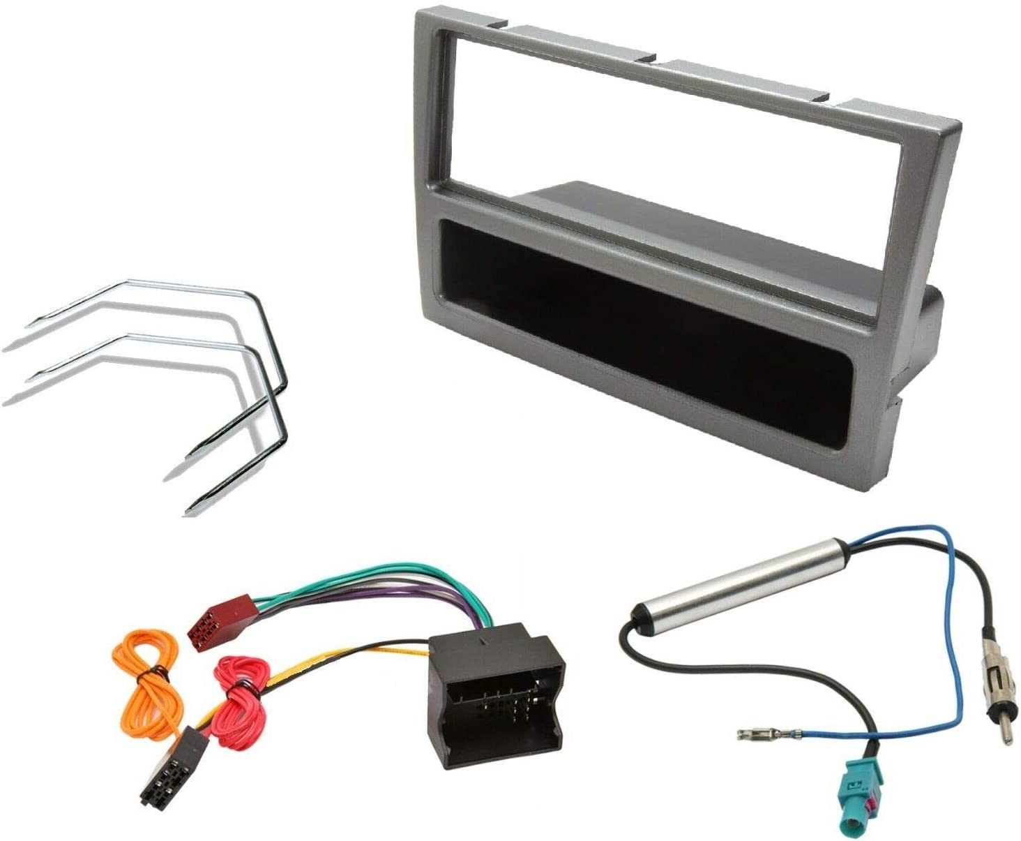 Inex Vauxhall Gunmetal Facia Fascia Fitting Kit Car CD Stereo Radio Quadlock Wiring