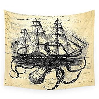 "Society6 Kraken Octopus Attacking Ship Multi Collage Background Wall Tapestry Small: 51"" x 60"""