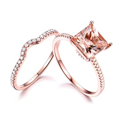 8mm Princess Cut Pink Morganite Wedding Ring Set 925 Sterling Silver Rose  Gold CZ Diamond Stacking