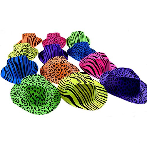 Fun Express Neon Animal Print Gangster Hats (1 (Neon Gangster Hats)