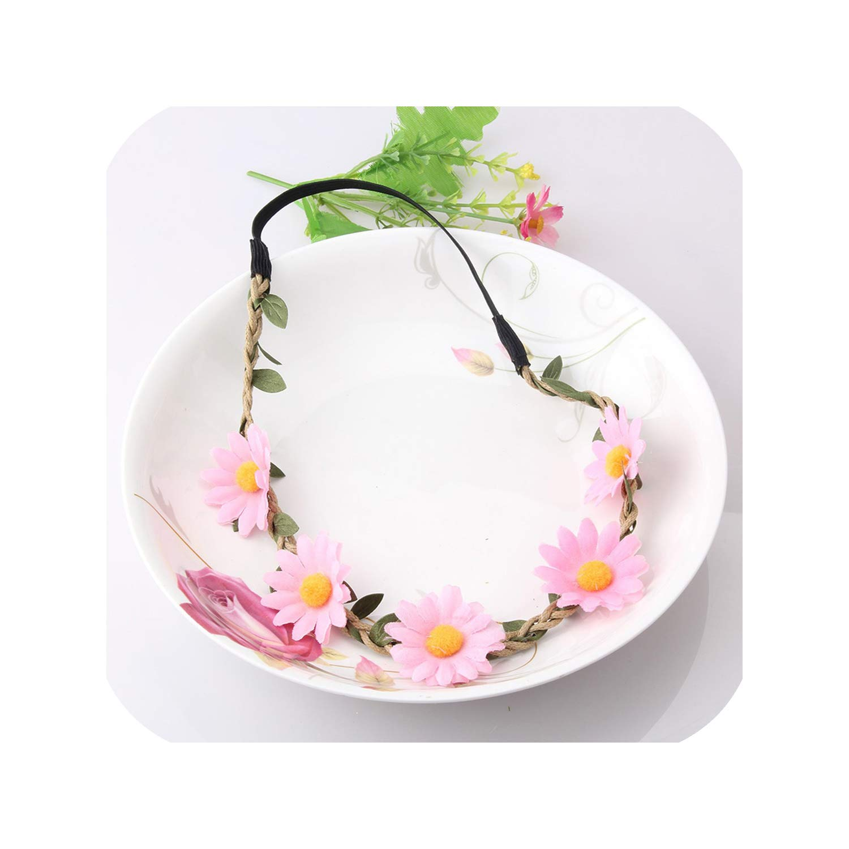 Women Floral Hair Accessories Bohemian Headband Bride Artificial Flower Hair Band Elastic Headband Girls Crown Bezel Tiara,White