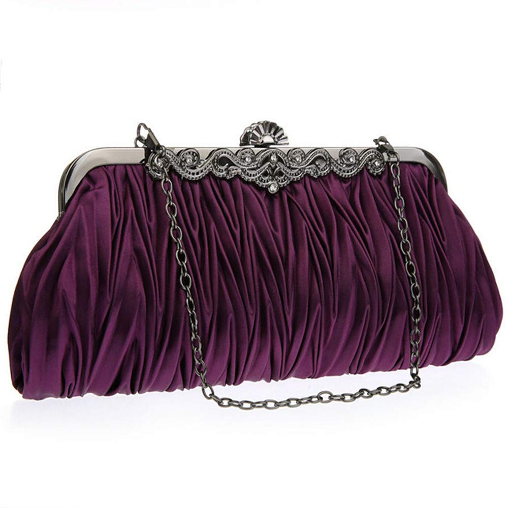 Amaping Womens Evening Party Dress Handbags Elegant Drapery Purse Mini Shoulder Bags Purple