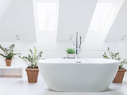 Vasca Da Bagno Freestanding Offerta : Beliani vasca da bagno freestanding ovale in acrilico bianco nevis