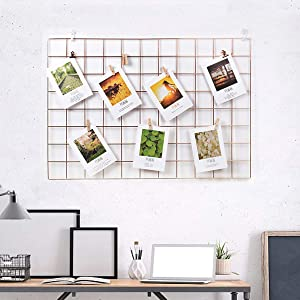Wall Grid Panel, Grid Wall Photo Display Hanging, Foldable Office Wall Decor Iron Rack, Photograph Wall Mesh Organizer, Ins Art Display Picture Wall Hangers(Pack-1,Rose Golden,25.6 x 17.7 Inches)