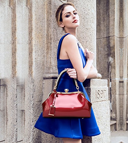 Wine shoulder bag fashion Messenger wallet Red Tisdaini leisure lady New lacquered female clasped handbag patent leather qnvz8wtZx