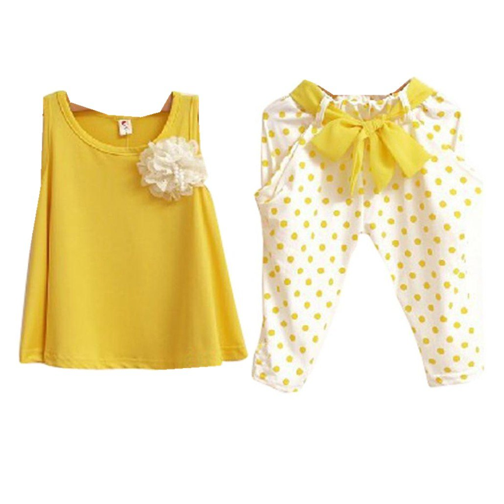 For 1-6 years old,Clode®Fashion Girls Flower Chiffon Vest Top And Dot Pencil Pants Two Pieces Set Clothes Children Clothing Set Clode-T14