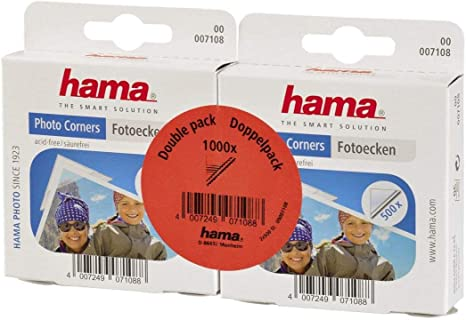 Transparent Hama Photo Corners 1000 pcs Self-adhesive, Suitable for Albums, Convenient Dispenser, Acid-free, Solvent-free, Archive-safe