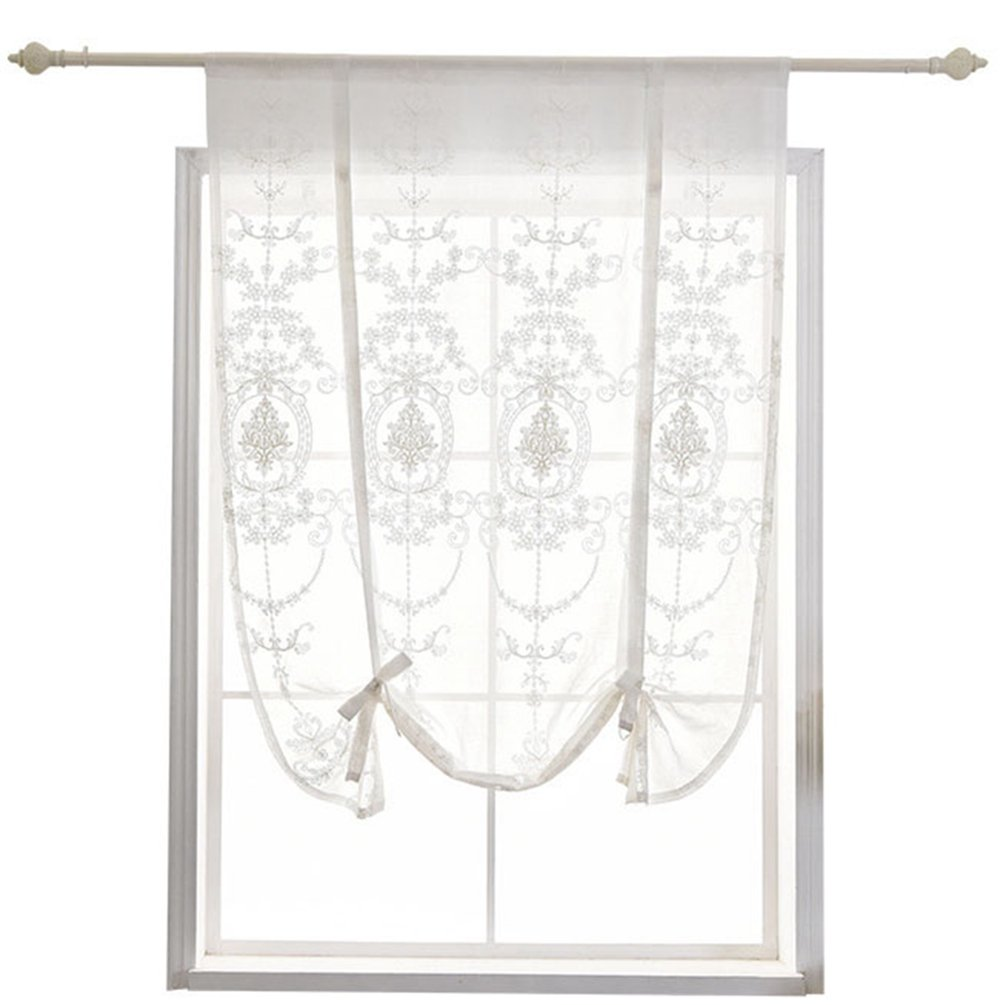 W White ZebraSmile Floral Bowknot Tie Up Balloon Curtain Semi Sheer Kitchen Voile Curtain Rod Pocket Window Curtain Roman Curtain Lifable H X47 in 31.5