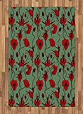 Poppy Area Rug by Ambesonne, Floral Arrangement with Abstract Ballerina Dance Themed Botanical Print, Flat Woven Accent Rug for Living Room Bedroom Dining Room, 4 x 6 FT, Green Chesnut Brown Red