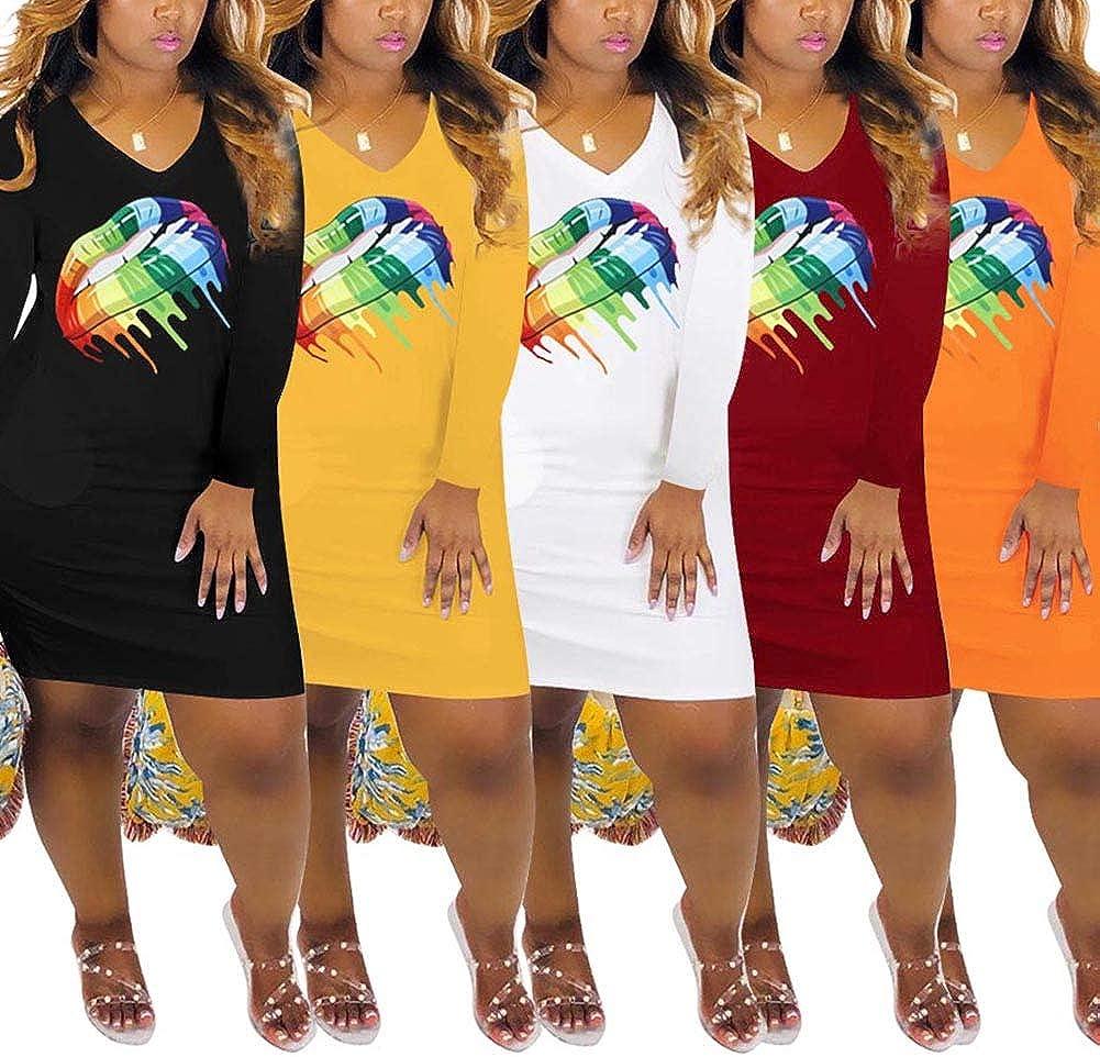 Uni Clau Womens Off Shoulder Lip Letter Print T Shirt Dress Casual Long Sleeve Tunic Midi Dresses