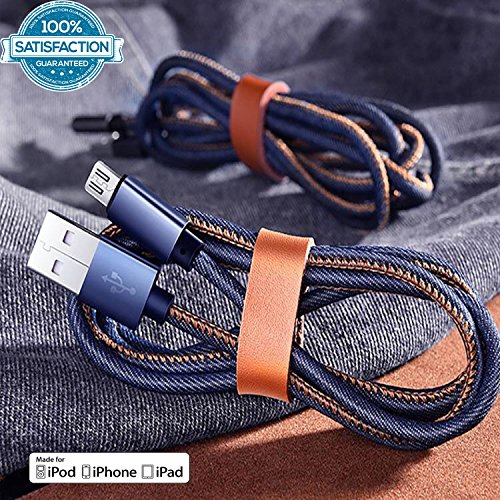 Price comparison product image Blue Jeans Denim iPhone High Speed Lightning Denim Cord Charging Data Cable TechNoob (3ft & 6ft)