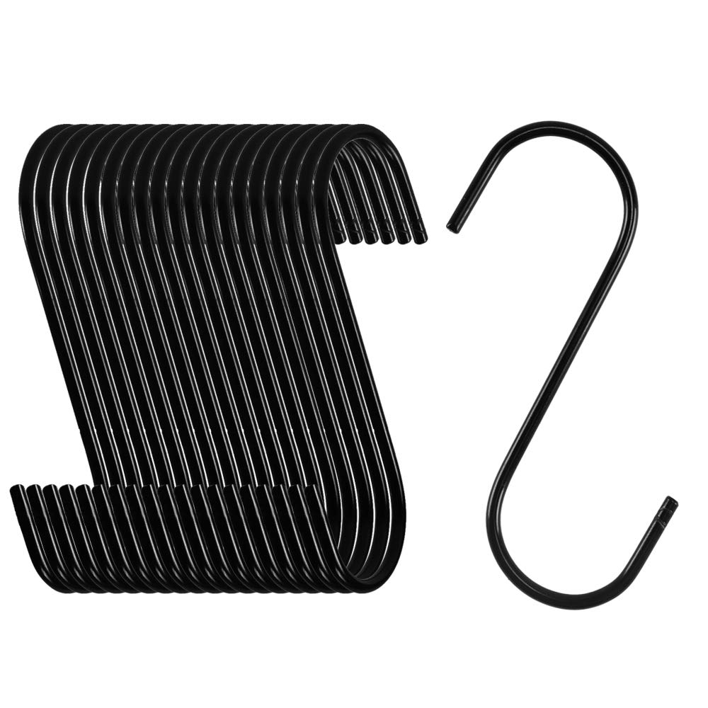 NACTECH 20pz Ganci Appendimestoli a Forma S 8.5cm Ganci da Appendere per Cucina Ganci Appendiabiti di Metallo Rivestito Appesi Utensili Camera da Letto Ufficio Bagno Lampade Garage