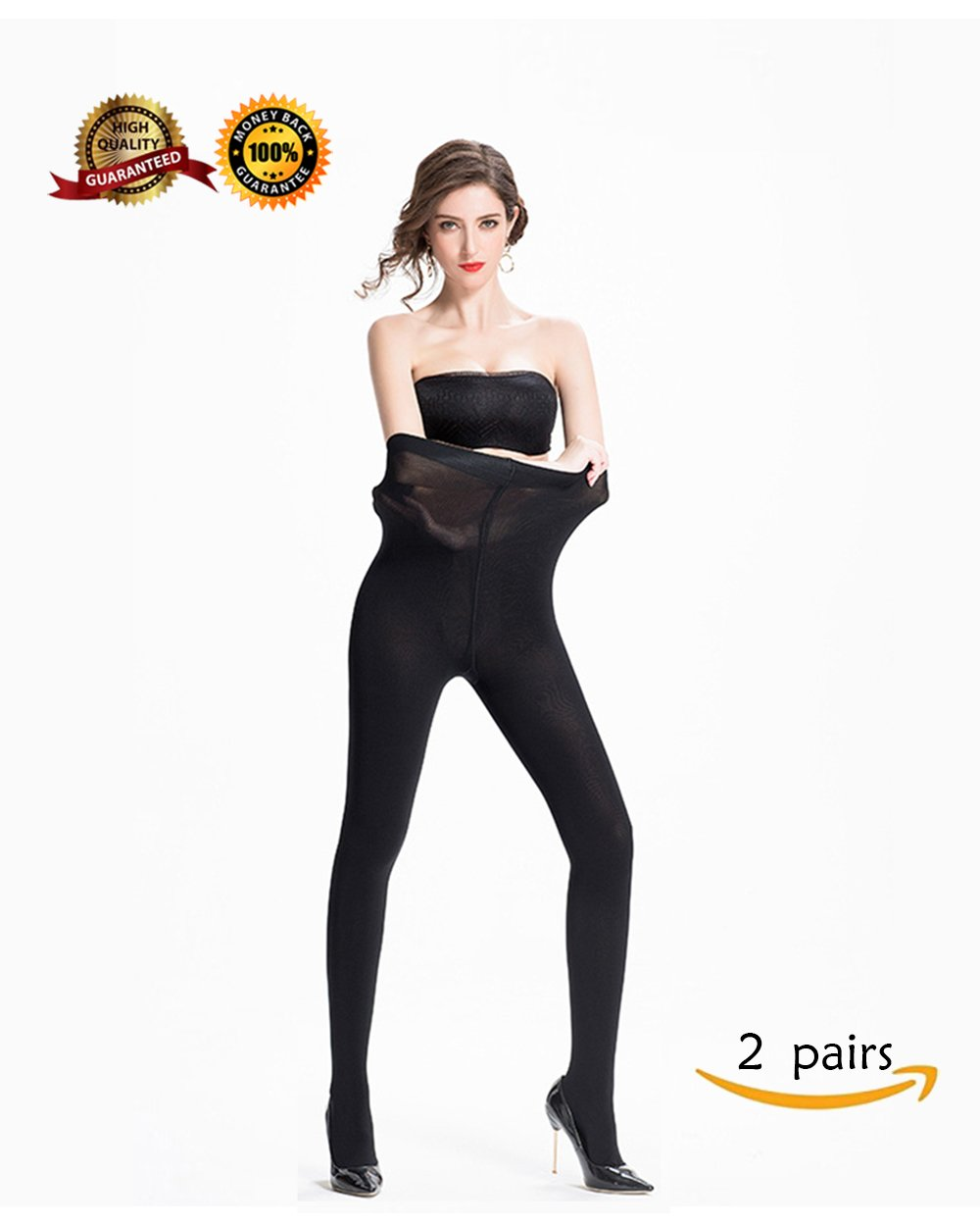 Opaque Tights Comfortable and Durable Pantyhose for Women 2 Pairs High Elastic Stockings Black M Size…