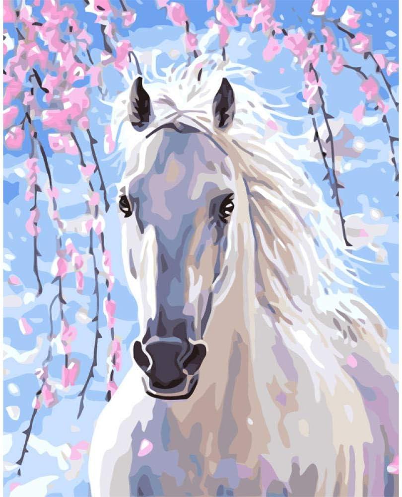 Pintar por Numeros para Adultos Patrón De Flor De Caballo Blanco Kit de pintura al óleo para bricolaje con Pinceles y Pinturas Decoraciones para el Hogar (Sin Marco) 40x50 cm