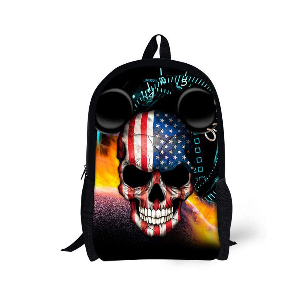 F Skull School Backpack,Cute 3D Printing College Bag High School Student Zipper Rucksack Travel Laptop Backpacks
