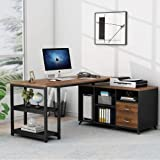 Tribesigns L-Shaped Computer Desk, 55 Inch Rotating Executive Office Desk with Drawers, Modern Corner Gaming Writing Desk wit