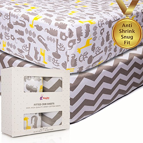 KAYBOSTORE Crib Fitted Sheets | Anti-Shrink 100% Soft Cotton Jersey Knit Bedding for Baby Girl, Boy, Toddler (2 Pack), Unisex Chevron and Safari Pattern + eBook on Happy Kids by KAYBOSTORE