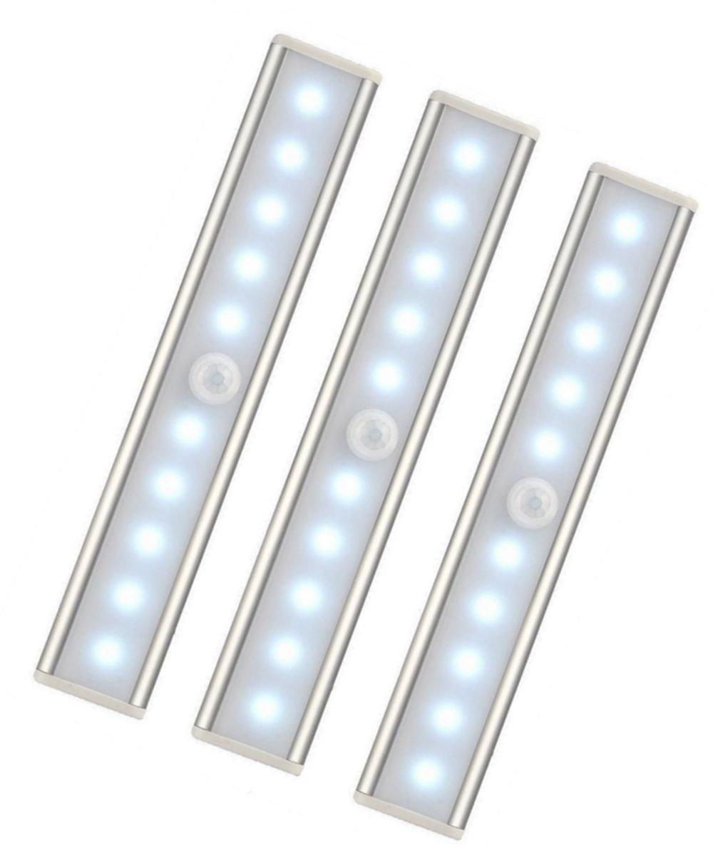 3er Set 10 LED USB Wiederaufladbar Magnetisch Bewegungsmelder Nachtlicht, auto EIN/AUS Schrankbeleuchtung, tragbar schnurlos kleben Irgendwo fü r Schrä nke Kleiderschrank (Weiß ) xinxinyu