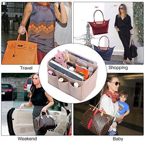 Purse Organizer, Bag Organizer With Sewn Bottom Insert New Design, Medium, Large (Large, Beige) by ZTUJO (Image #6)