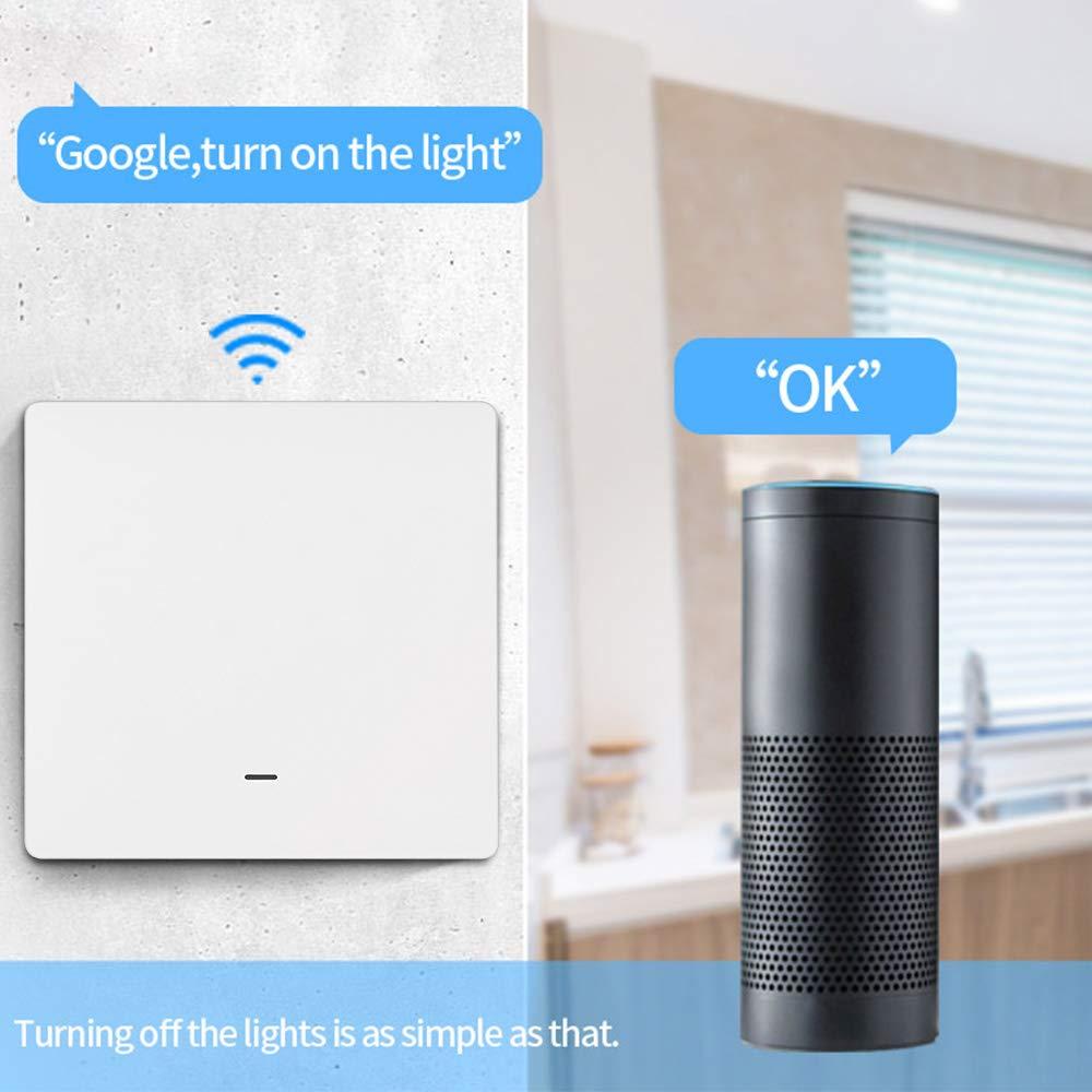APP y Control de Voz Interruptor WiFi compatible con Alexa Google Home Sin necesidad de l/ínea neutral Konesky Interruptor Inteligente Wi-Fi 1 Interruptor principal y 1 Interruptor secundario