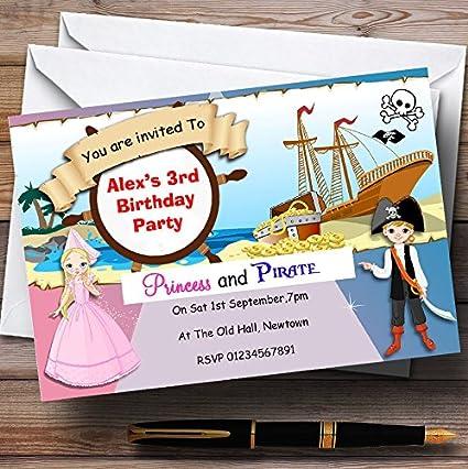 Amazon princess and pirate ship theme personalized birthday princess and pirate ship theme personalized birthday party invitations filmwisefo