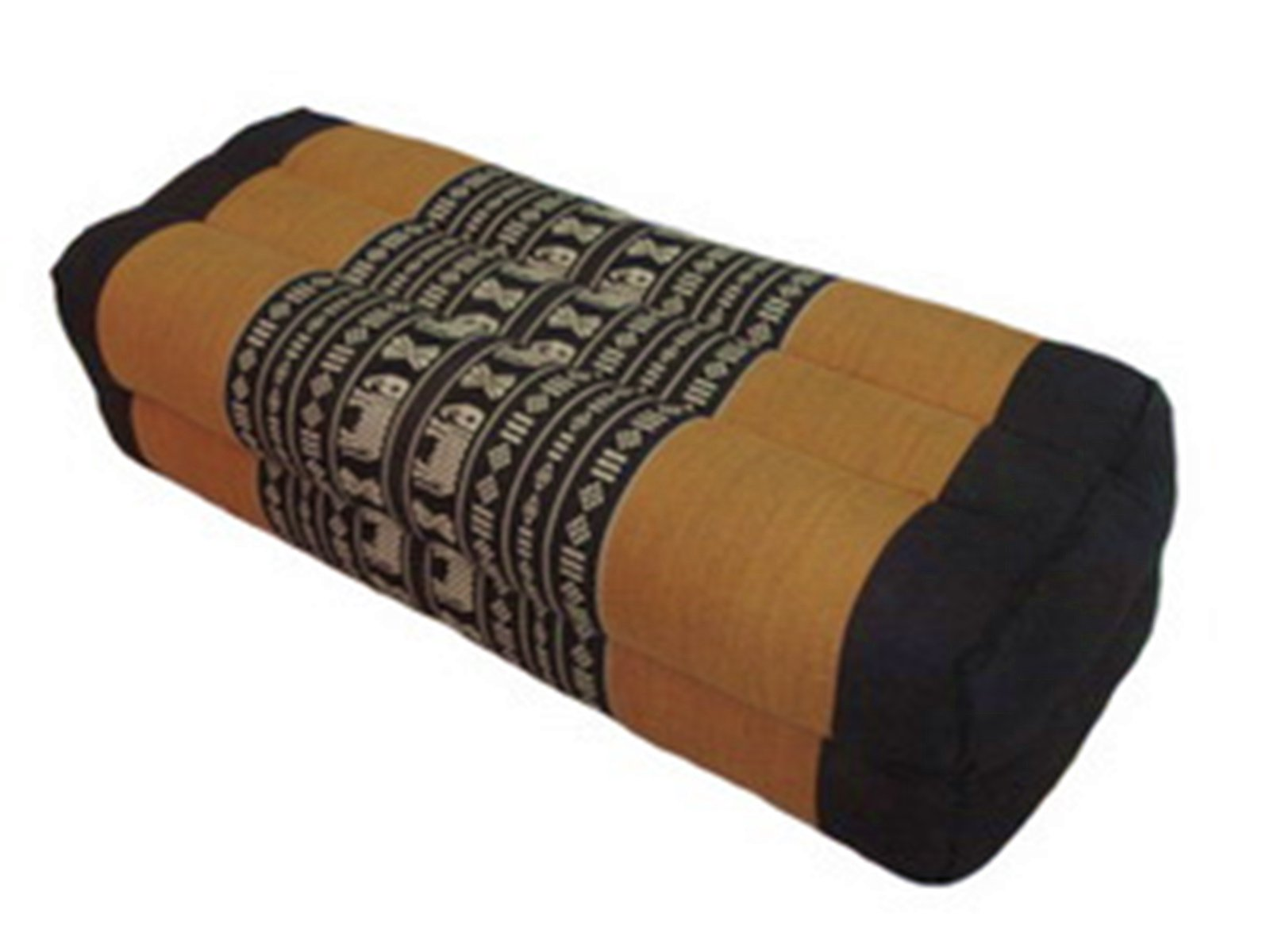 Thai Style Tradition Thai Fabric Block Pillow with Thai Elephants Pattern, 18x50x12 Cm., Kapok (Brown)