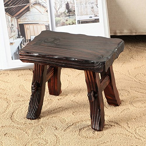 WENJUN Small Stool Home Solid Wood Children's Wood Stool Living Room Stool Modern-style Retro Old Stool Creative Adult Shoes Stool Living Room Coffee Table Stool ( Color : Wood color1 ) by WENJUNdengzi (Image #3)